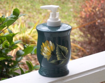 Hand Painted Ceramic Green Soap Dispenser with Yellow Chrysanthemums