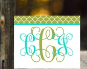 custom personalized stationery classic  elegant vine monogram notecards  thanks you notes  shower gift  monogram note cards wedding