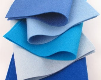 Blue Felt Sheets, 100% Wool,  Felt Fabric Squares, The Blues Color Story, Aquamarine, Light Blue, Blue, Cobalt, Turquoise