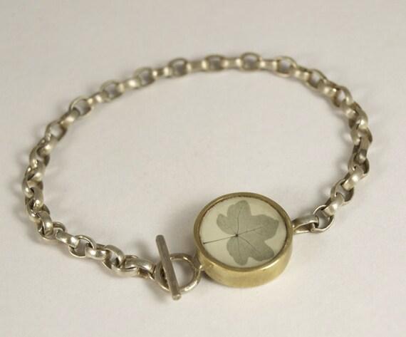 Sterling Silver Maple Leaf Photo Bracelet
