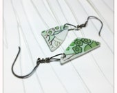 CUSTOM ORDER For Laura, 3 pairs of earrings fashioned from broken dishes