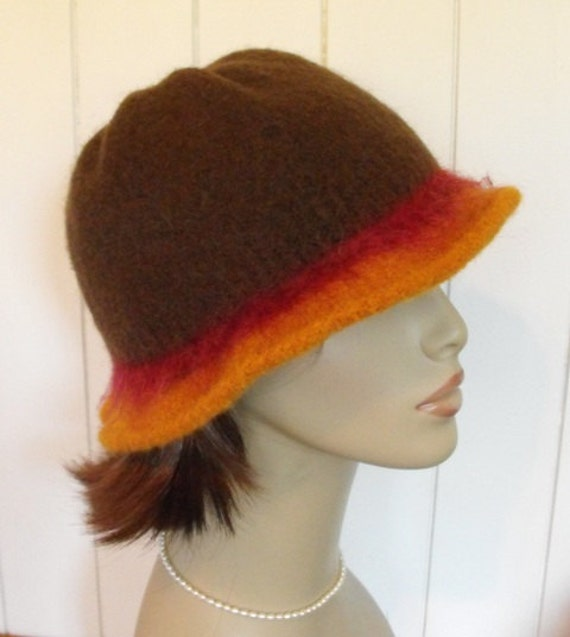 Womens Hand Knit Felted Warm Brown Wool Cloche Hat