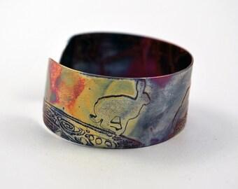 Etched Copper Hare Cuff Bracelet - medium size