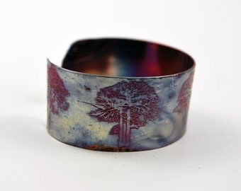 Etched Copper Cuff Bracelet - tree design - medium size