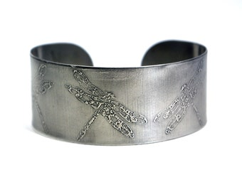 steel dragonfly cuff, stainless steel bangle, medium surgical steel cuff