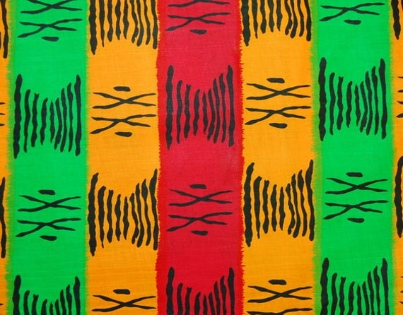 African Fabric 1/2 Yard Cotton RED GOLD GREEN Ethnic Symbols