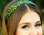 CANDACE- peacock feather headband