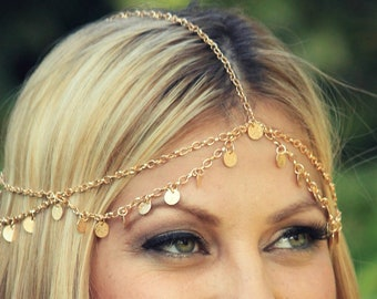 CHAIN HEADPIECE- gold disc chain headdress/headpiece