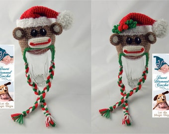 Christmas Santa Sock Monkey Hat - Any Size