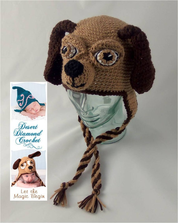Crochet Pattern For Dog Hat With Ear Holes : Crochet Pattern 076 Long Ear Puppy Dog Beanie Hat All