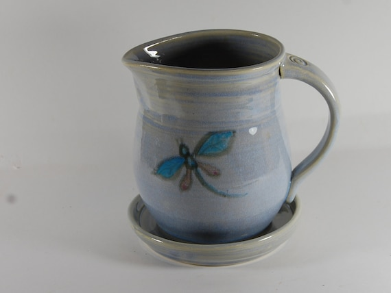 Dragonfly Pottery Pitcher with Tray - Pastel Blue - Syrup Pitcher - Gravy Pitcher - Coffee Creamer - Cottage and Country Style