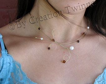 brown ivory pearl swirls necklace, delicate wedding necklace, bridesmaids necklace, bridesmaids gifts,