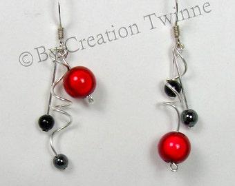 red black earrings,  asymmetrical earrings, funky jewelry, gift for her, gift for bridesmaids, delicate earrings, wedding gift, women gift