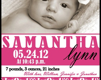 Custom Baby Girl Photo Birth Announcement