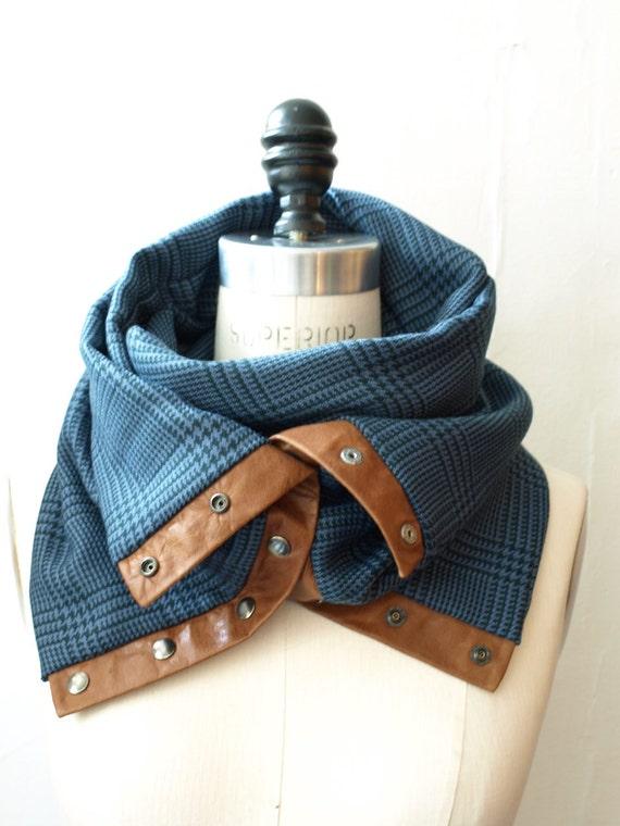 Blue plaid Chunky wool circular infinity scarf cowl