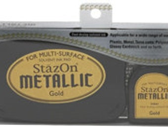 StazOn Metallic Permanent Ink Pads for any size Rubber Stamp - GOLD SILVER COPPER