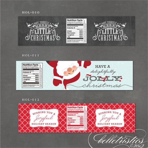 Items Similar To Christmas Water Bottle Label, Printable