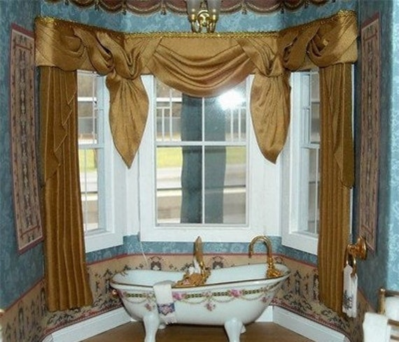 Dollhouse Miniature 1:12 scale Bay Window Gold curtains Drapes