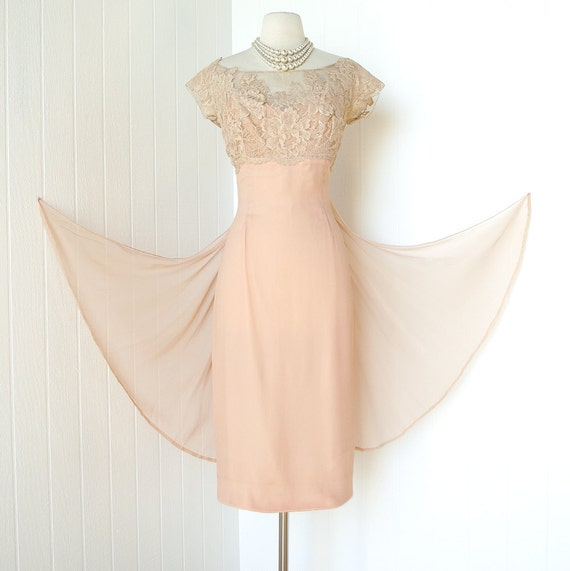 vintage 1960's dress ...old hollywood glam designer PEGGY HUNT nude illusion chiffon waterfall bustle train wiggle bombshell cocktail dress