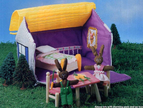 Vintage Fabric Dollhouse and Circus Tent Sewing Pattern with Miniature Bunny Dolls Carry Along Doll House