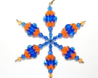 Snowflake Suncatcher With Hanging BELL in Team Colors Blue and Orange Wind Spinner Ornament in Plastic Beads Large Size  #16