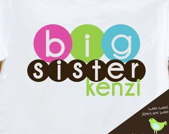Custom big sister multicolor circles Tshirt