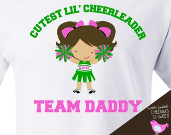 girls cheerleader shirt - little cheerleader in training - customize to your team name / hair colors