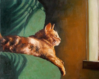 """Wistful Whiskers, custom Pet Portrait Oil Painting by puci, 10x12"""""""