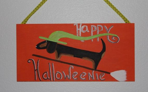 Halloween Dachshund Decoration Happy Halloweenie