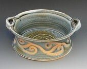 Wood Fired Blue Gray Baking Dish Handled Casserole Serving Bowl
