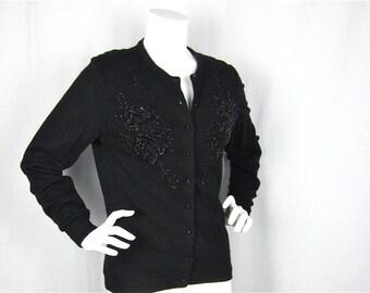 Vintage 60s Black Sweater, Hand Beaded in Hong Kong, Sz M