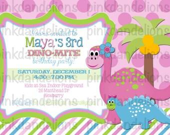 Dino Girl Birthday Party Invitation - 5x7 DIGITAL FILE