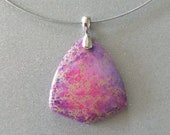 LAVENDER PINK TRIANGLE Cabochon Stone Pendant - free shipping