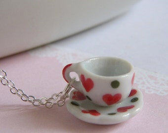 Tea Party Necklace, Miniature Tea Cup Pendant On Silver Chain, Cute Heart Pattern