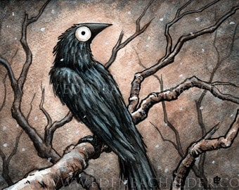 "Signed and matted print of Black Bird VII painting by Eden Bachelder, ready to frame. 5"" x 7"" image, matted to 8"" x 10"". Raven, crow"