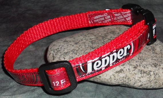 Adjustable Cat or Small Dog Collar from Recycled Dr Pepper Soda Bottle Wrappers