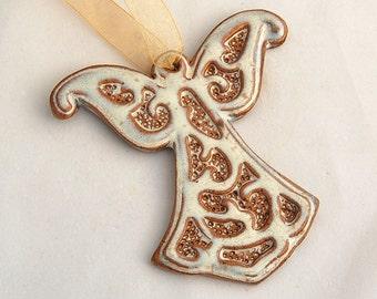 Angel Ornament in White - Ceramic Stoneware Pottery