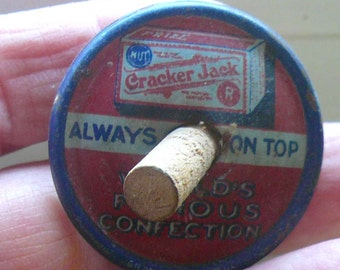 Vintage  Cracker Jack Tin Lithograph Spinning Top Toy Collectible Always on top Boy Gift