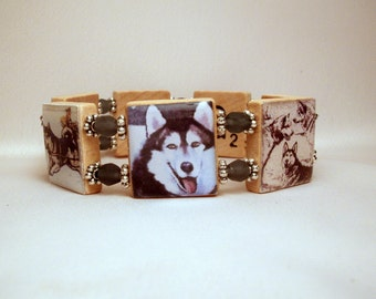 HUSKY Bracelet / Dog Lover Gift / Upcycled / Siberian SCRABBLE Jewelry ...