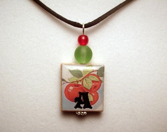 TEACHER JEWELRY / Alphabet - Letter A Apple Pendant / SCRABBLE Art / Gift / Librarian