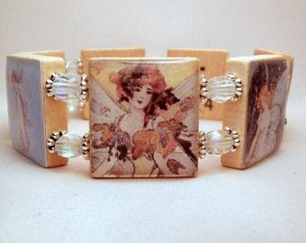 FAIRY ART Bracelet / SCRABBLE Handmade Jewelry / Unusual Gifts / Upcycled