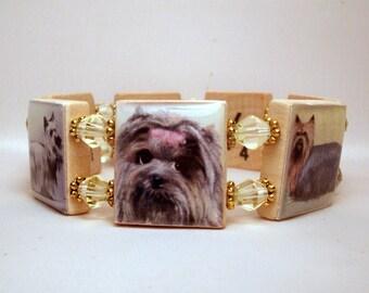 "YORKIE Bracelet / Yorkshire Terrier Scrabble Jewelry / Dog Gift / SPELLS ""YORKIE"" on the inside"
