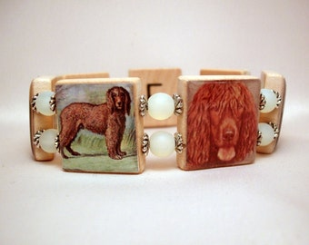 IRISH WATER SPANIEL Jewelry / Upcycled Scrabble Bracelet / Dog Lover / Unusual Gifts