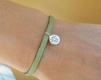 Lotus bracelet, Custom color Leather bracelet, Silver lotus charm bracelet, Sterling silver, Yoga jewelry, zen buddhist