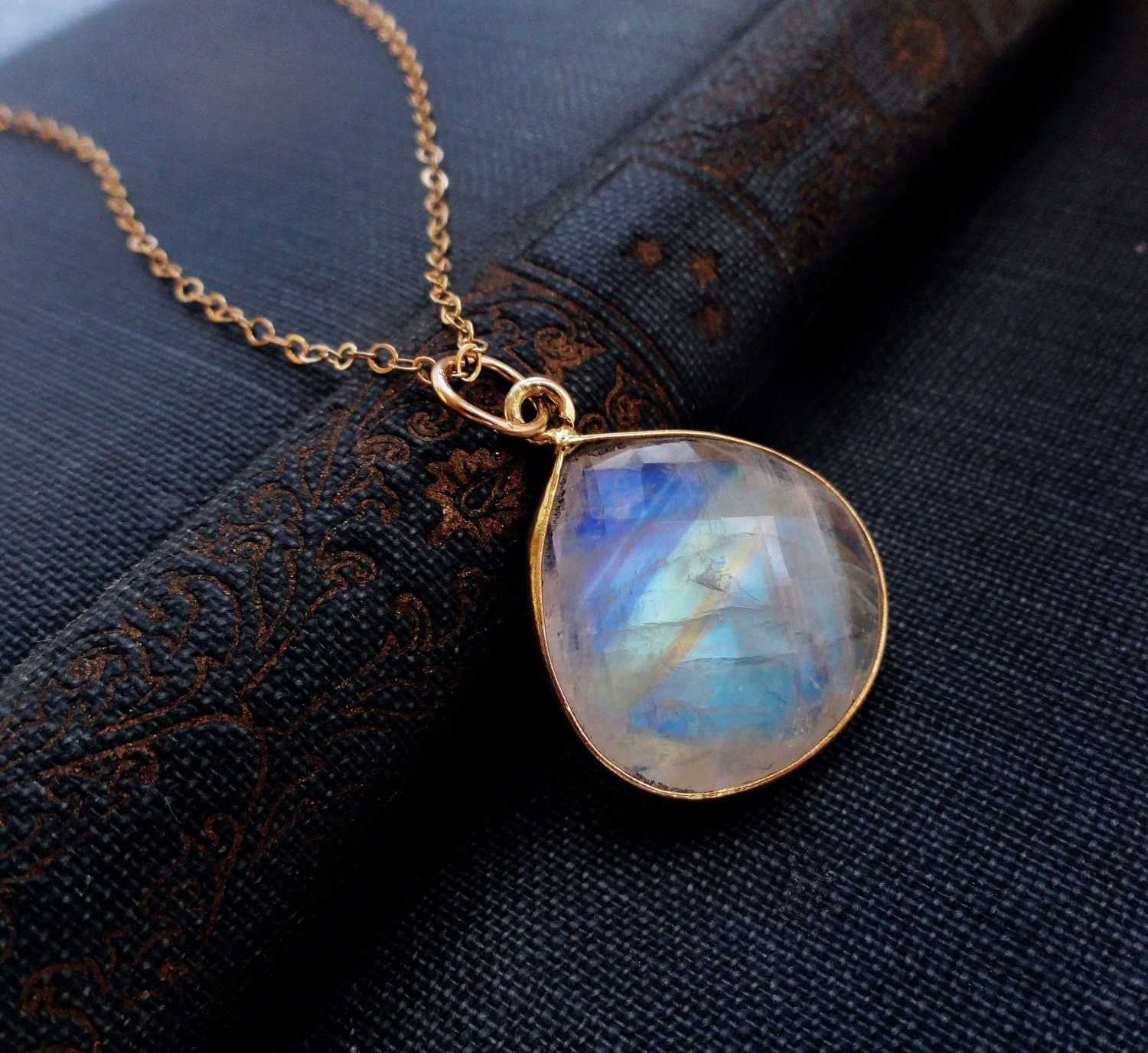 moonstone jewelry LARGE moonstone pendant necklace Blue