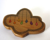 Illustrated Rainbow Cloud Wood Brooch - Repurposed Timber Wood Eco - Handcrafted