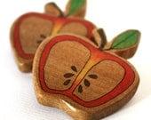 Apple Brooch Wood Illustrated