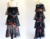 70s Boho Hippie Tiered 2 Piece Goddess Grecian Maxi Mini Midi Prom Cocktail Gown Dress . XS . SM . No.133.3.6.13 .. D038