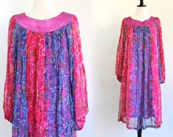 70s Boho Hippie Gypsy India Rayon Tent Festival Glam Stripe Floral Bell Billowy Sleeve Dress . SML . D136 . 10001