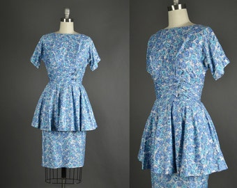 1950s Dress / cotton day dress / 50s dress / peplum blue day dress